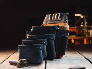 Three Pouched Left Leather Tool Bag